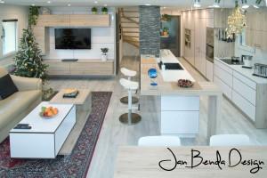 Realizace kompletního interiéru rodinného domu v Opavě včetně dveří a proskleného schodiště (2)